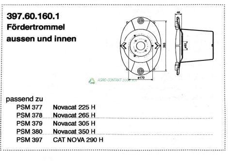 Pöttinger Novacat Cat nova fűkasza belső és külső dob